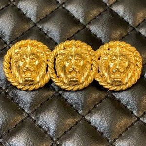 Vintage Jewelry - Rare Vintage Ann Klein Gold Lion Bar Brooch